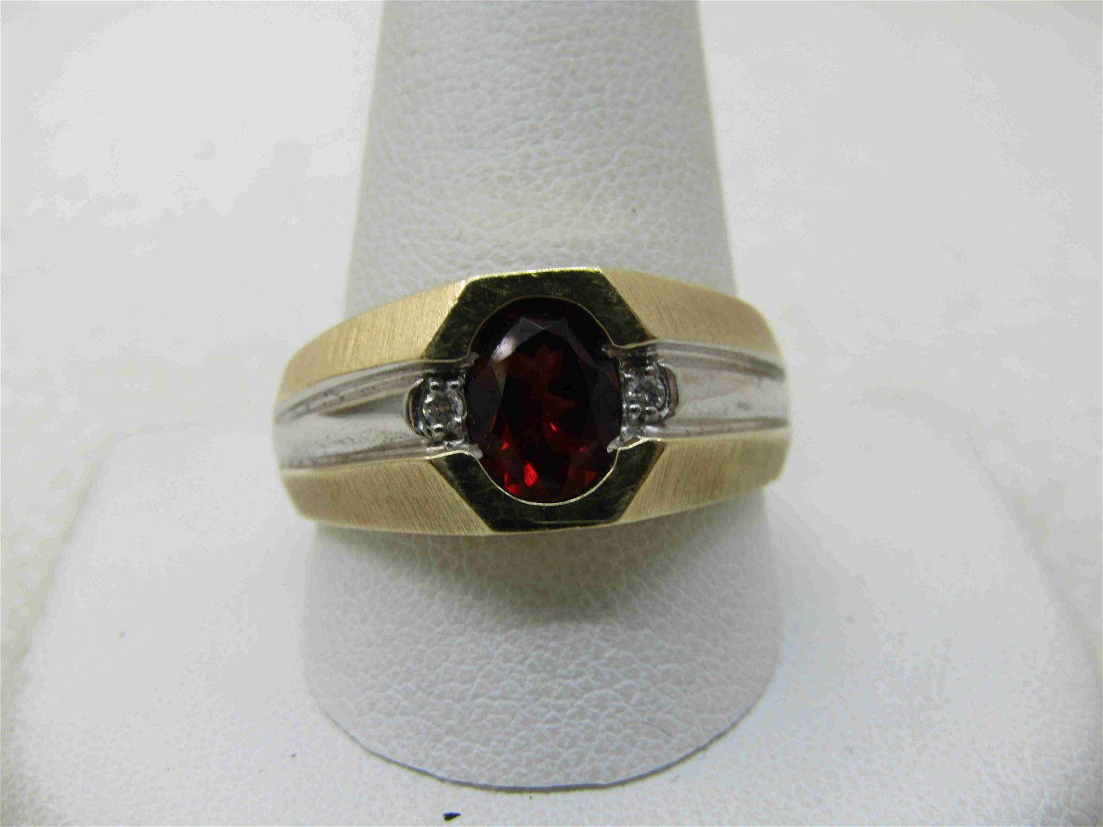 Vintage 14kt Rubellite Diamond Men's Ring,1 CT, Sz.