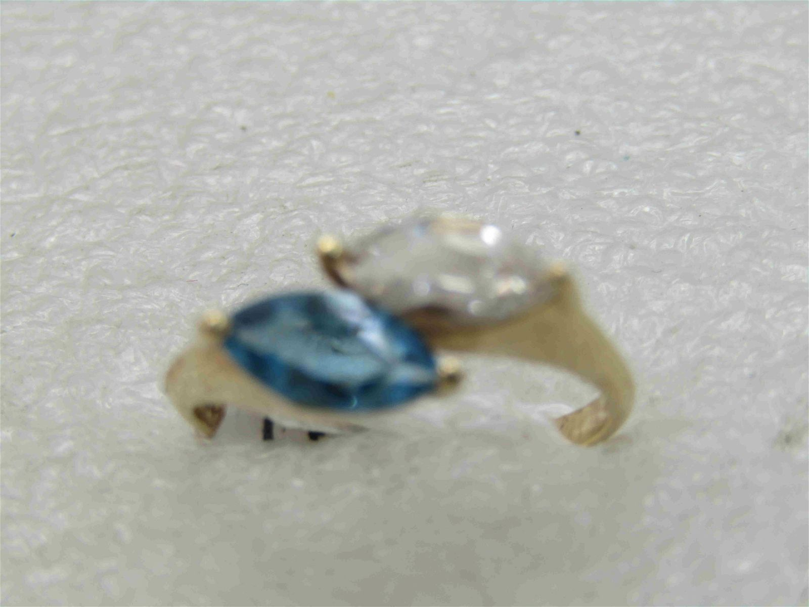 Vintage 14kt Blue and White Topaz Marquise Ring, Sz.