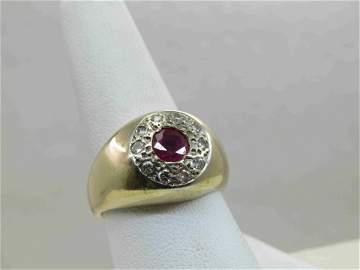 Vintage 14kt Men's Ruby Diamond Ring, Sz. 9, 1TCW