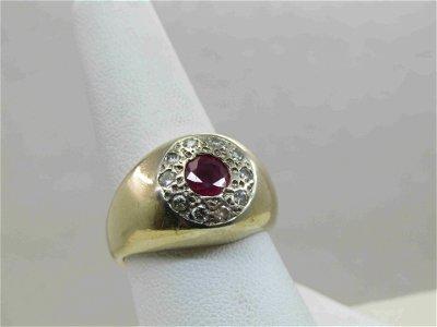 Vintage 14kt Men's Ruby Diamond Ring, Sz. 9, 1TCW