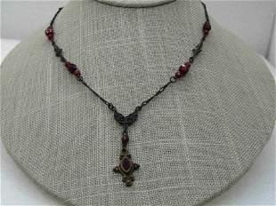"Bellagio Red Crystal Lavalier Necklace, 16"""