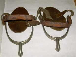 Vintage V.B. Never Rust Spurs With Leather Straps -