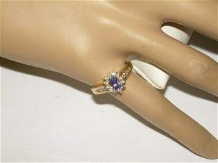 14k Diamond/Sapphi; re Halo Cocktail Ring, Size 6 1/2,
