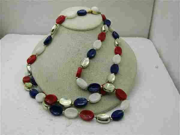 """Vintage Hong Kong Red, White, Blue, Gold Necklace, 48"""","""