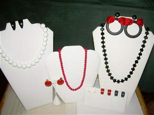 Three Lots Bead Jewelry - Red, White, Black Necklaces,
