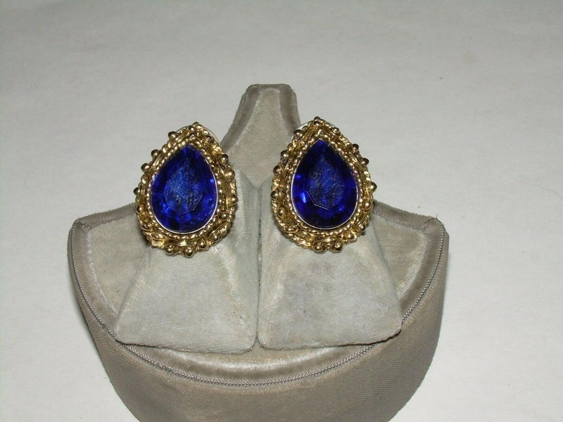 Vintage Goldtone Oval Cut Glass Faux Sapphire Pierced