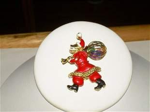 Rare Old World Santa Brooch W/Cage Gem Sack - Vintage -