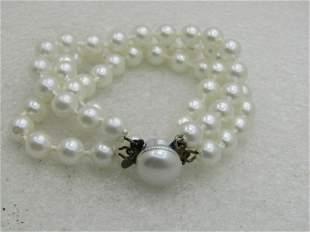 Vintage Triple Strand Faux Pearl Bracelet, Hong Kong,