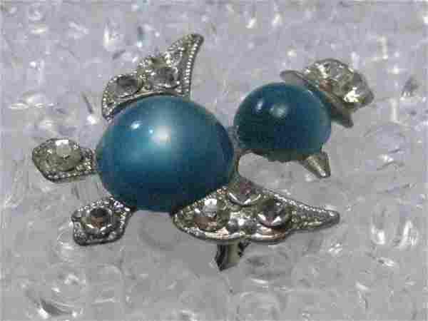 Vintage Silver Tone Lucite Blue Moonstone Duck &