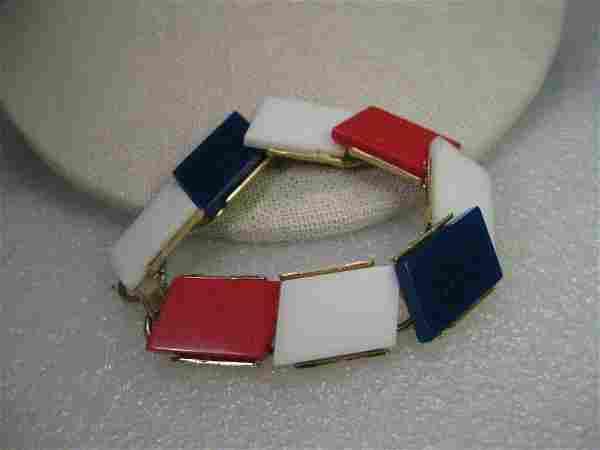 Vintage Bracelet - Gold tone 1950's Red/White/Blue Tile