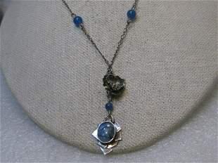 "Vintage Sterling Opally Lavalier Necklace, 20"","