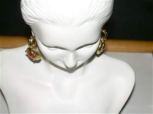 Berebi Gold Tone Dangling Pierced Earrings With Red