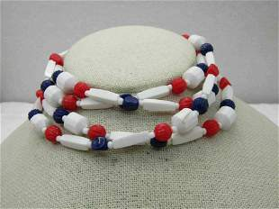 """Vintage Red, White, Blue Beaded Necklace, 48"""", Plastic,"""