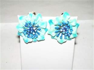 Vintage Enamel Clip On Earrings - 1960's Flower And