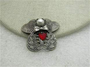 Vintage Angel Brooch Signed Jane with Faux Pearl Red