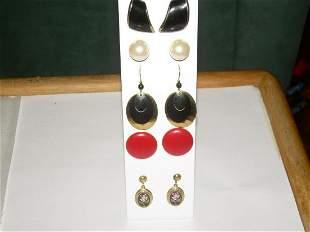 Vintage Lot 5 Pierced Earrings - 2 Dangler, 3 Stud,