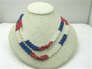 """Vintage 40"""" Red, White, Blue Beaded Necklace"""
