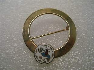 Vintage Brooch, Cloisonne Distelfink Circle Brooch,