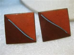 "Vintage Copper Enameled Cuff Links, Pumpkin/Brown, 1"""
