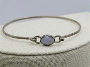 Sterling Quartz Bangle Bracelet, Top Hook Clasp, Banded