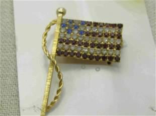 "Vintage Blue & Clear Rhinestone USA Flag, Gold Tone, 2"""