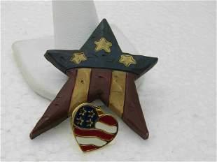 2 USA Flag Brooches/Pins, Star and Heart Flag