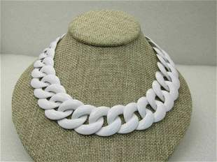 "Vintage Monet White Enameled Necklace, 1960's, 17.5"""