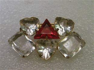 Vintage Brooch, Clear & Red Heart,