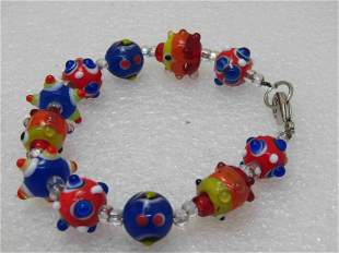 "Glass Lampwork Beaded Bracelet, Colorful 8"""