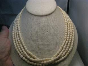 "Vintage Multi-Strand White Beaded Necklace, 19"", Gold"