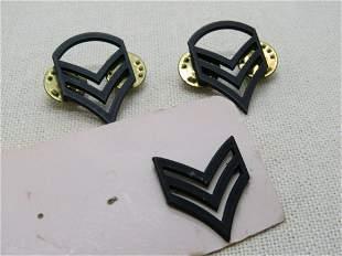 Vintage 4 Staff Sergeant & 1 Sergeant Pins/Insignias; ,