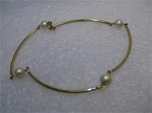 Vintage 12kt G.F. Pearl Bracelet, Curved Tube Links,