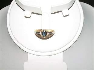 14kt Gold Sapphire/Diamo; nd Men's Ring - Yellow &