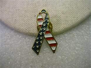 "Vintage Gold Tone Flag Ribbon, Red, White & Blue, 1.25"""