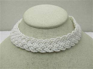 """Vintage White Beaded Woven Choker Necklace, 14.5"""","""