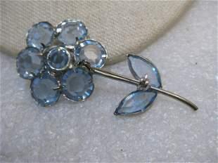 Vintage Blue Glass Floral Brooch, Beveled Framed,