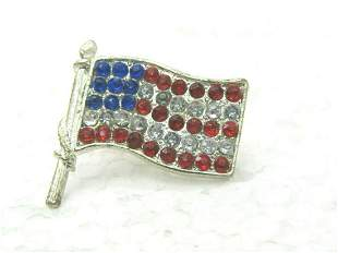 Vintage Red, White, Blue USA Flag Tack Pin, Silver