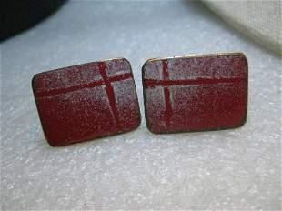 Copper Enameled Red Cuff Links, Rectangular, White