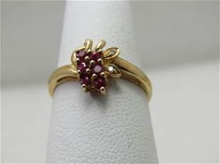 Vintage 10kt Spinel & Diamond Ring, Size 6.5, Art Deco