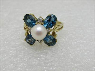 Vintage 10kt Blue Topaz Pearl Diamond Ring, Signed DR