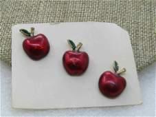 Vintage 3 Enameled Apple Tack Pins/Brooches, Suna