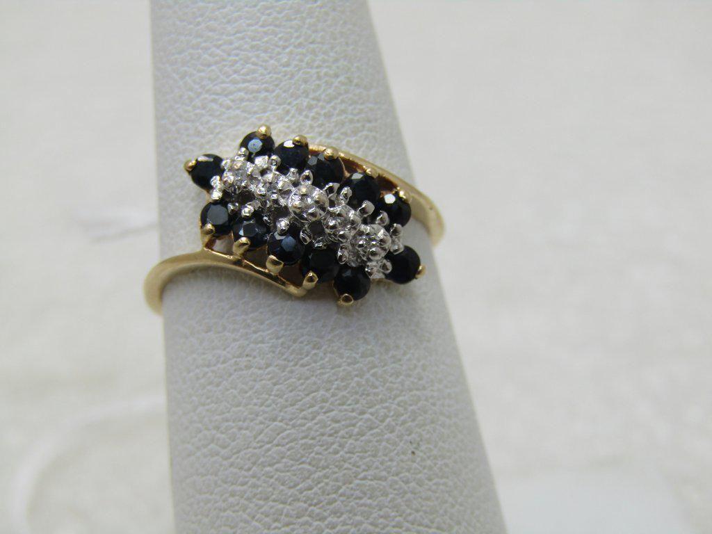 Vintage 10kt Blue Spinel Diamond Art Deco Theme, Ring,