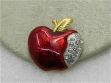 "Vintage Enameled Rhinestone Apple Brooch, 1.5"""