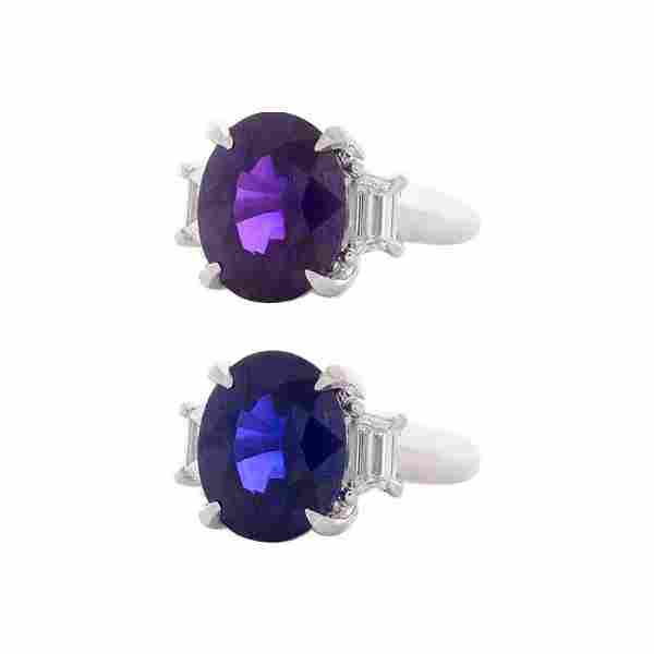 GIA Certified 10.26 Carat Oval Violetish Purple