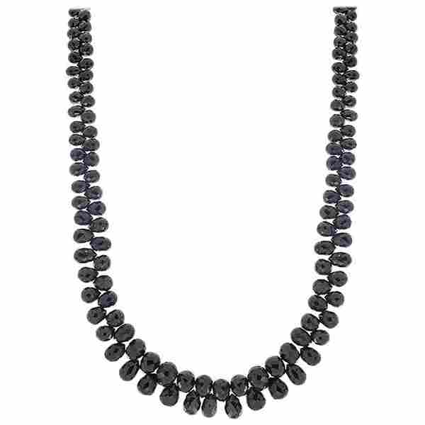 85 Carat Total Briolette Black Diamond Necklace in 14