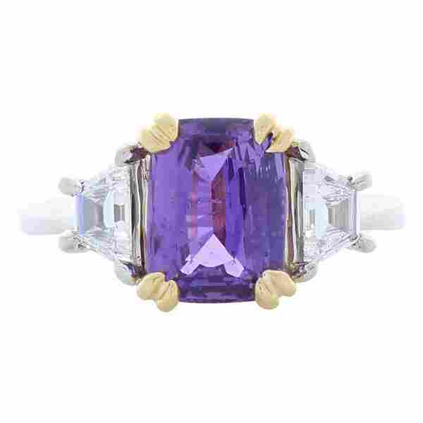 2.98 Carat Emerald Cut Purple Sapphire and Diamond