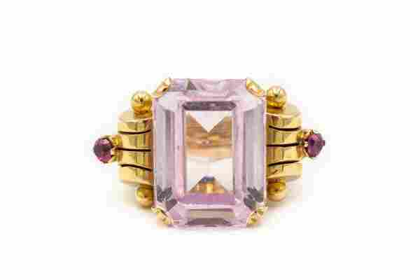 Retro 1950's Rose Gold Ruby and Kunzite Ring