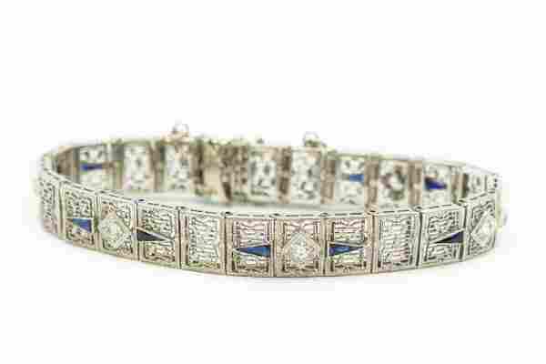 Estate Art Deco White Gold Diamond and Sapphire