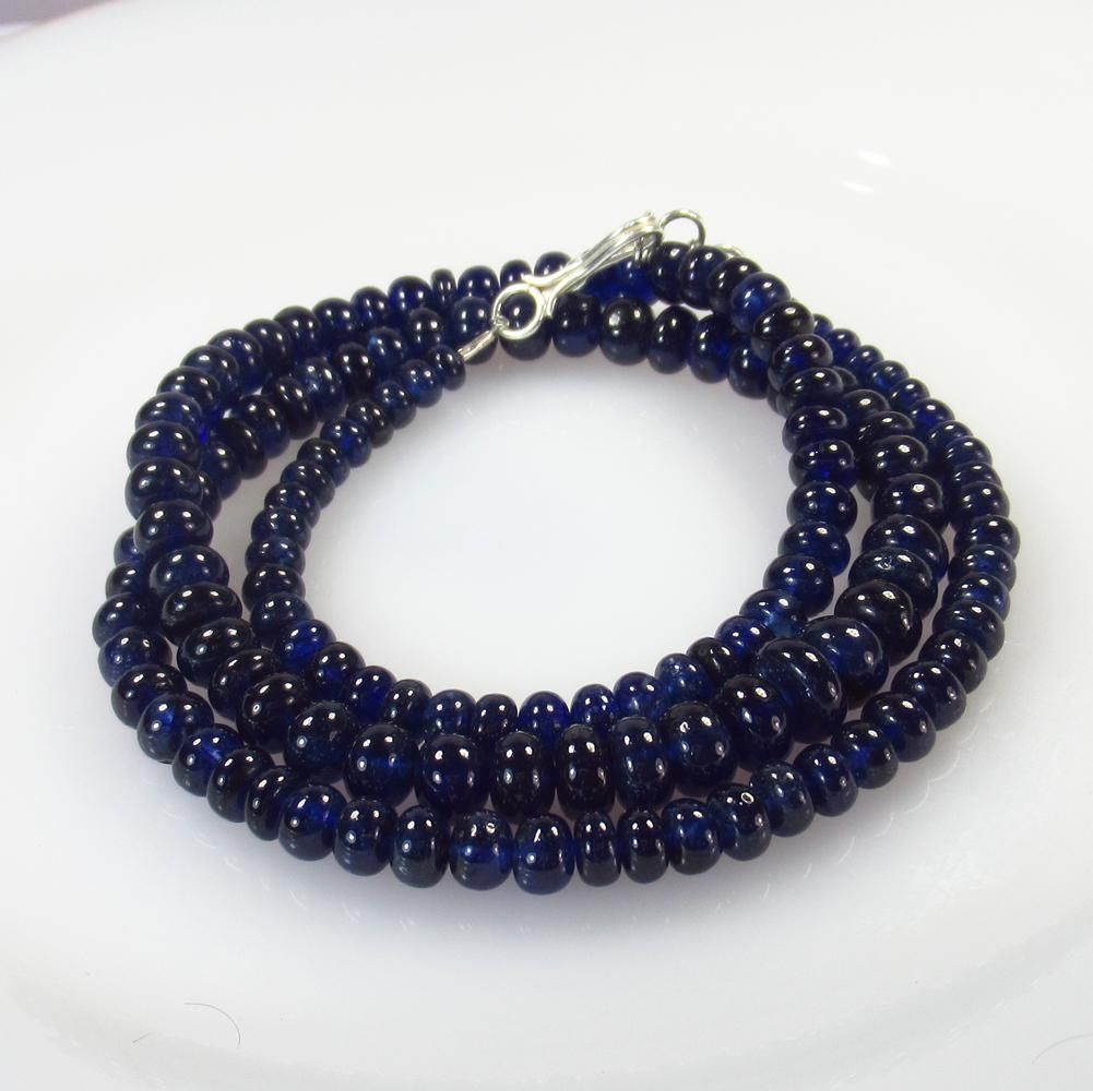 202.04 Ct 925 Silver 136 Blue Sapphire Beads Necklace