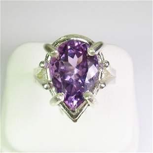 9.04 g 925 Sealed Silver 6.00 Ct Natural Amethyst Ring